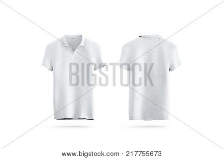 Blank white shirt mock up isolated, front and back side view, 3d rendering. Empty sport t-shirt uniform mockup. Plain clothing design template. Cotton clear dress with collar and short sleeves