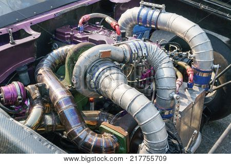 Diesel racing car engine with turbo charger