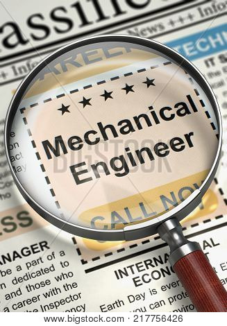 Mechanical Engineer - Job Vacancy in Newspaper. Mechanical Engineer - Close View Of A Classifieds Through Magnifier. Job Search Concept. Blurred Image. 3D Render.