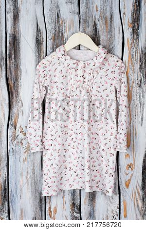 Peasant nightie for growing daughter. Romantic floral pattern, ruffled cuffs and collar. Nice sleepwear for girls.