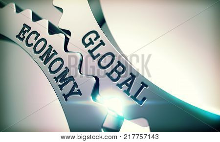 Global Economy Shiny Metal Cog Gears - Business Concept. with Glow Effect. Global Economy on Mechanism of Shiny Metal Cogwheels with Lens Flare - Interaction Concept. 3D .