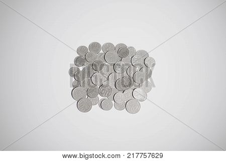 Old Russian coins isolated on white background. Old Russian currency. Old Russian rubles and kopecks. Antic. Currency background. Coins background.