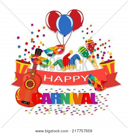 Happy Carnival. A tape with an inscription, a guitar, a cap, confetti, masks, balloons, maracas  illustration