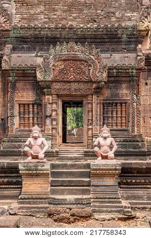 Banteay Srei, a 10th century Hindu temple dedicated to Shiva. The temple built in red sandstone was forgotten for centuries and rediscovered 1814 in the jungle of the Angkor area of Cambodia.