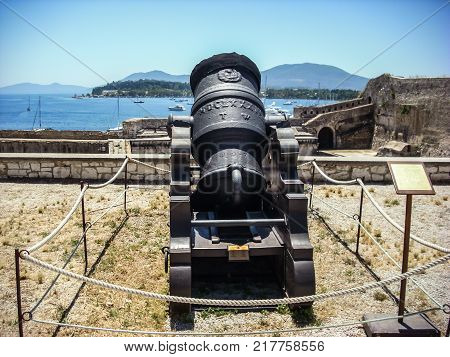 year 1684 old mortar medieval mortar in the Old Fortress of Corfu Town Greece.