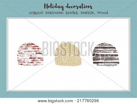 Vector set of textured Christmas cookies, stylized imprints on textile, bricks and wood planks. Colored isolated elements for holiday cards or stamp brushes creating.