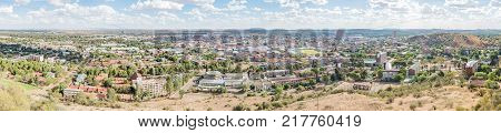 BLOEMFONTEIN SOUTH AFRICA DECEMBER 11 2016: A Panorama of the Central Business District in Bloemfontein as seen from Naval Hill