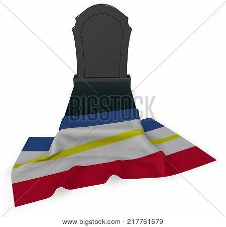 gravestone and flag of mecklenburg-vorpommern - 3d rendering