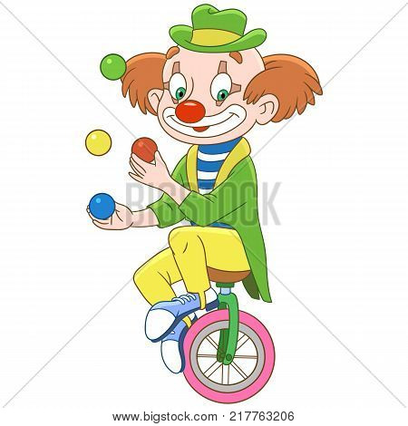 Cartoon clown juggling isolated on white background. Colorful book page design for kids and children.