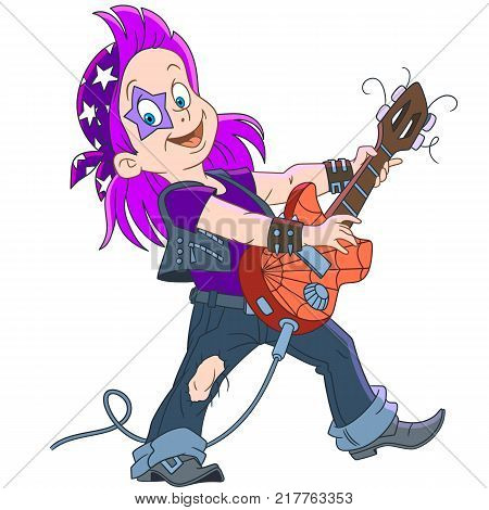 Cartoon guitarist of rock and roll band playing music with his electric guitar. Colorful book page design for kids and children.
