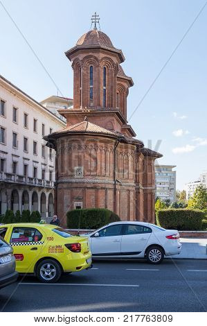 Bucharest Romania October 10 2017 : Kretzulescu Church - Red-brick Orthodox church with bell towers dating to the 1720s plus later icons & interior frescos in Capital city of Romania - Bucharest