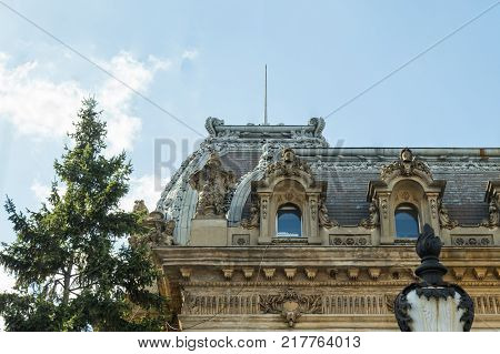 Bucharest Romania October 10 2017 : Fragment of a decorated facade of an ancient building on Lancu de Hunedoara street in Bucharest city in Romania