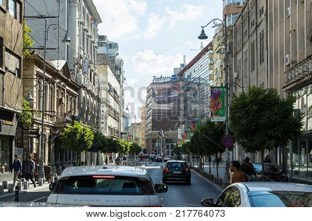 Bucharest Romania October 10 2017 : Modern and old buildings on Calea Victoriei street in Bucharest city in Romania