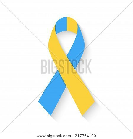 World Down Syndrome Day. Flat Blue and yellow ribbon symbol isolated on white background. Vector illustration