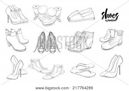 Vector illustration of Set hand drawn graphic Men and women Footwear, shoes. Shoe for casual, sport and classical style, gumshoes, boots for all seasons. Doodle, drawing Design isolated object.
