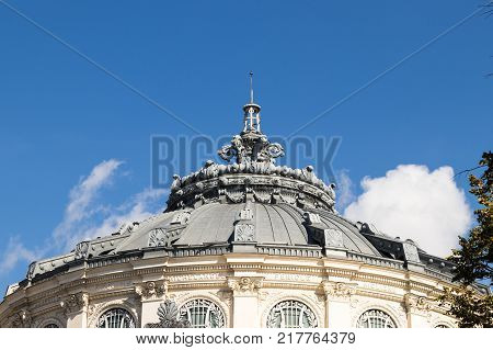Bucharest Romania October 10 2017 : Decoratively decorated roof dome of Romanian Athenaeum in Capital city of Romania - Bucharest