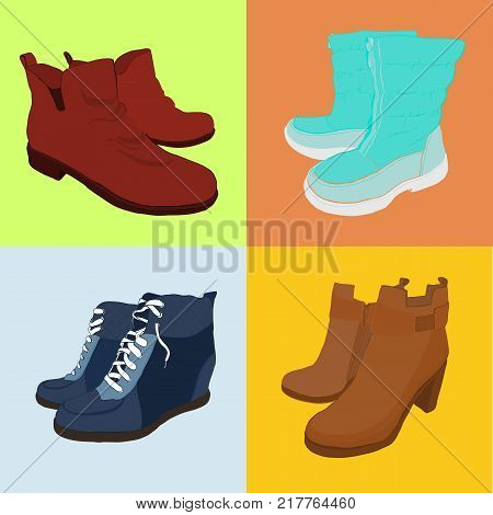 Vector illustration of Set hand drawn colorful women Footwear in isometric style. Shoes Casual and sport style, gumshoes, boots for cold seasons. Doodle, drawing Design isolated object.