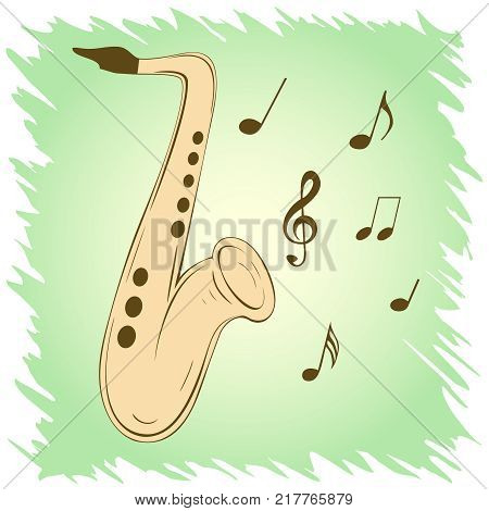 Stylish illustration of saxophone for slogan, poster,  flier or etc. Sax and musical notes on green background, can be used with any image or text. Vector. Square location.