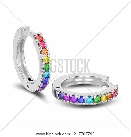 3D illustration isolated two white gold or silver decorative earrings hinged lock with colorful diamonds with shadow on a white background