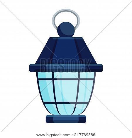 Bright old fashioned hand flashlight. Kerosene lamp or candle for lighting streets houses. Decor for festival birthday wedding. Flat vector illustration. Objects isolated on white background.