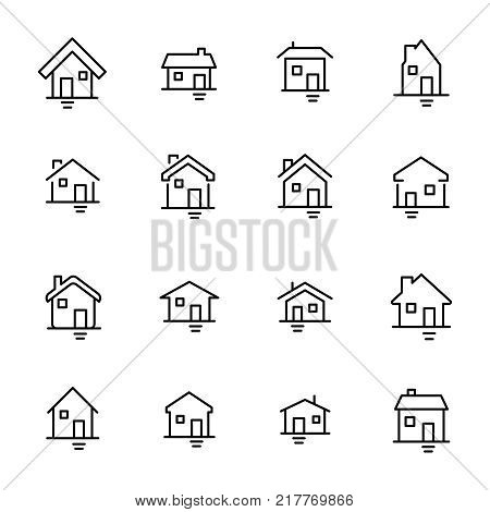 Modern outline style home icons collection. Premium quality symbols and sign web logo collection. Pack modern infographic logo and pictogram. Simple house pictograms on a white background.