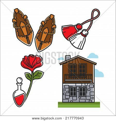 Symbolic items that have cultural value isolated cartoon flat vector illustrations set on white background. Wicker shoes, tassels on rope, red rose, glass flask and two-storey house of stone and wood.