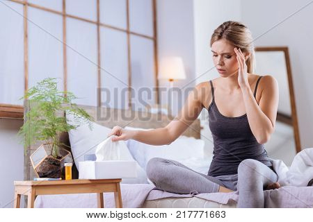 Unbearable rhinitis. Pleasant young woman sitting on the bed and touching her sore head while taking a tissue out of the box in order to blow her nose