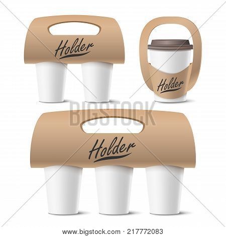 Coffee Cups Holder Set Vector. Realistic Mockup. Empty Packaging For Carrying. One, Two, Three Cups. Hot Drink. Take Away Cafe Coffee Cups Holder Mockup. Isolated