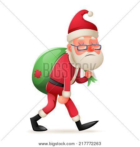 Cartoon Vintage Walk Tired Sad Weary Santa Claus Heavy Gift Bag Character Retro Icon Christmas Design Vector Illustration