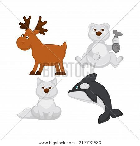 Adorable baby animals from cold countries. Moose with branchy horns, polar bear with fish in paw, albino fox with fluffy tail and killer whale that has blue eyes isolated vector illustrations set.
