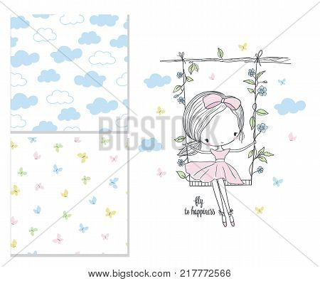 Little girl on the swing. Nursery vector illustration and 2 seamless patterns. Fashion illustration for kids. Use for print design surface design fashion kids wear