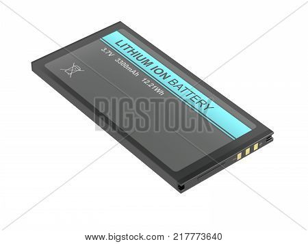 Rechargeable Lithium-ion battery for smartphone tablet camera or other devices. 3D illustration
