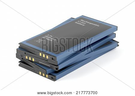 Group of rechargeable Li-ion batteries on white background, 3D illustration