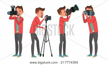 Photographer Vector. Photo Studio. Photographer Making Photos. Digital Camera And Professional Photo Equipment. Taking Pictures. Isolated On White Cartoon Character Illustration