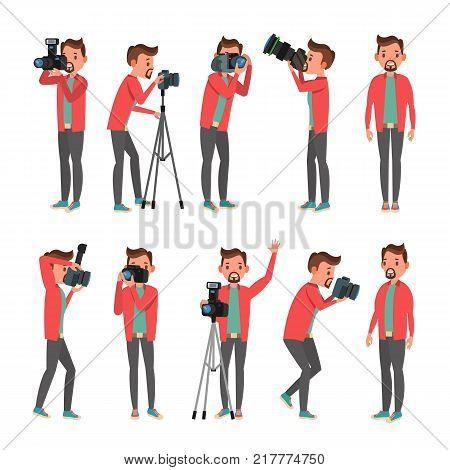 Photographer Vector. Modern Camera. Posing. Full Length Taking Photos. Photojournalist Design. Flat Cartoon Illustration