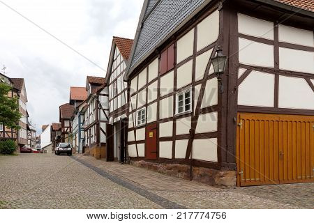 Old houses in a city Sauerland Germany.