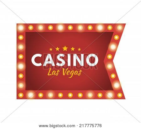 Glowing casino sign Las Vegas. Jackpot, lucky, success, financial growth, money profit. Slot machine in casino, lottery, roulette, gambling. Winner leader happy man Vector illustration