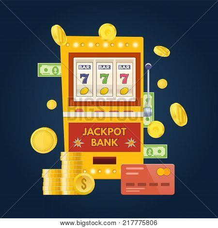 Jackpot bank slot machine. One arm gambling device. Lucky, success, financial growth, money profit. Slot machine in casino, lottery, roulette, gambling. Coins, bills and cards Vector illustration