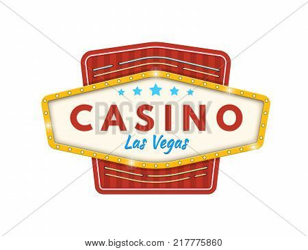 Signboard of casino Las Vegas. Jackpot, lucky, success, financial growth, money profit. Slot machine in casino, lottery, roulette, gambling. Winner leader happy man Vector illustration