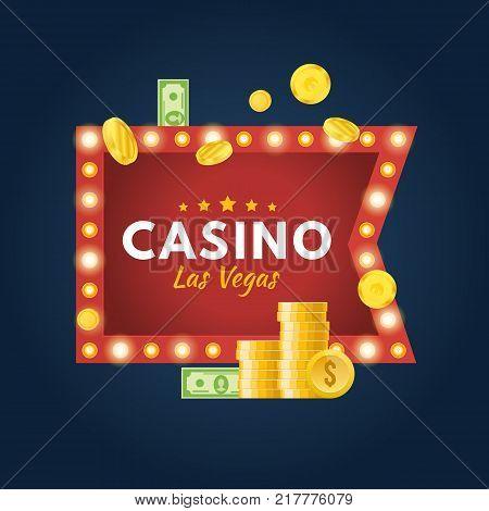Glowing casino sign Las Vegas. Jackpot, lucky, success, financial growth, money profit. Slot machine in casino, lottery, roulette, gambling. Winner leader happy man Vector illustration