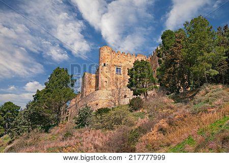 Miglionico, Matera, Basilicata, Italy: the medieval castle (Castello del Malconsiglio) on the hill of the ancient town