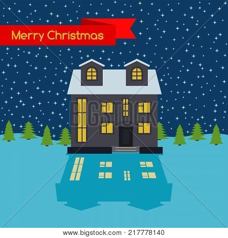 Winter night with lonely house and stellar sky and a red ribbon with the inscription Happy Christmas. Vector illustration.