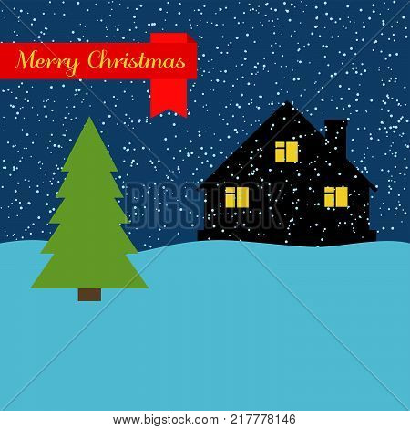 Winter night with lonely house and falling snow and a red ribbon with the inscription Happy Christmas. Vector illustration.