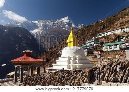 Panoramic view of Namche Bazaar, Everest trek, Himalaya, Nepal. poster