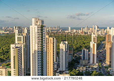 Recife, Brazil - December 09, 2017: High view of the Via Mangue in Boa Viagem, Recife city in Pernambuco.
