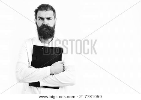 Bearded Brutal Caucasian Doctor Or Postgraduate Student