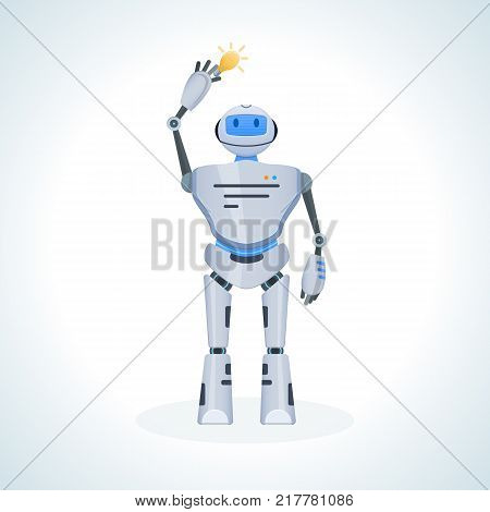 Electronic robot, chat bot, humanoid. Artificial intelligence system. Information, research, self-improvement, self-development. Innovation intelligence technology science future. Vector illustration