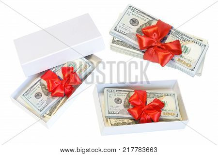 Set of christmas dollar cash present box with red bow Isolated on white background