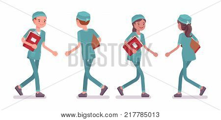 Male and female nurse walking. Young workers in hospital uniform employed in clinic. Medicine and healthcare concept. Vector flat style cartoon illustration isolated on white background, front, rear
