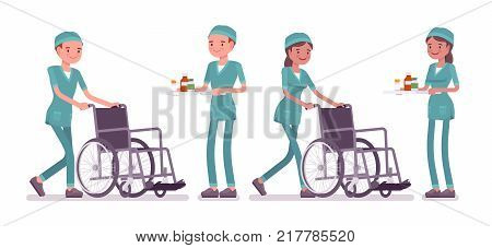 Male and female nurse at medical procedure. Young workers in hospital uniform on duty in the clinic. Medicine and healthcare concept. Vector flat style cartoon illustration isolated, white background